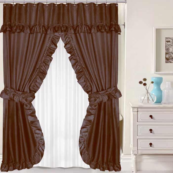 Brown Double Swag Shower Curtain W Available Window Curtain
