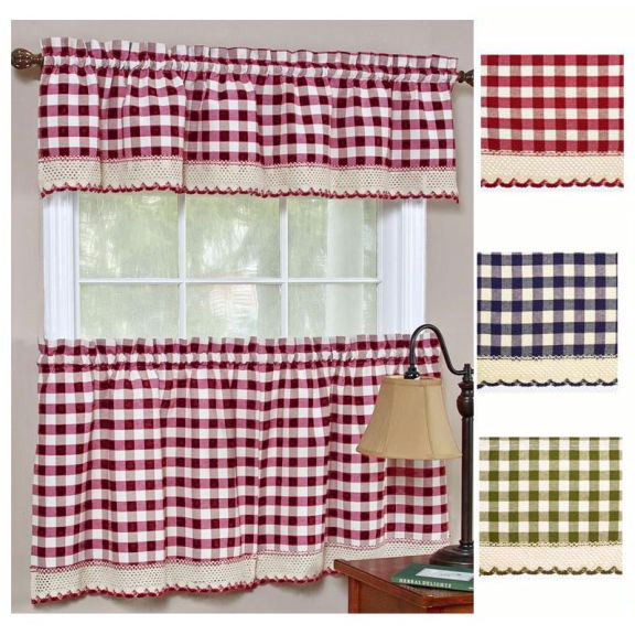 Red And Black Buffalo Plaid Kitchen Curtains