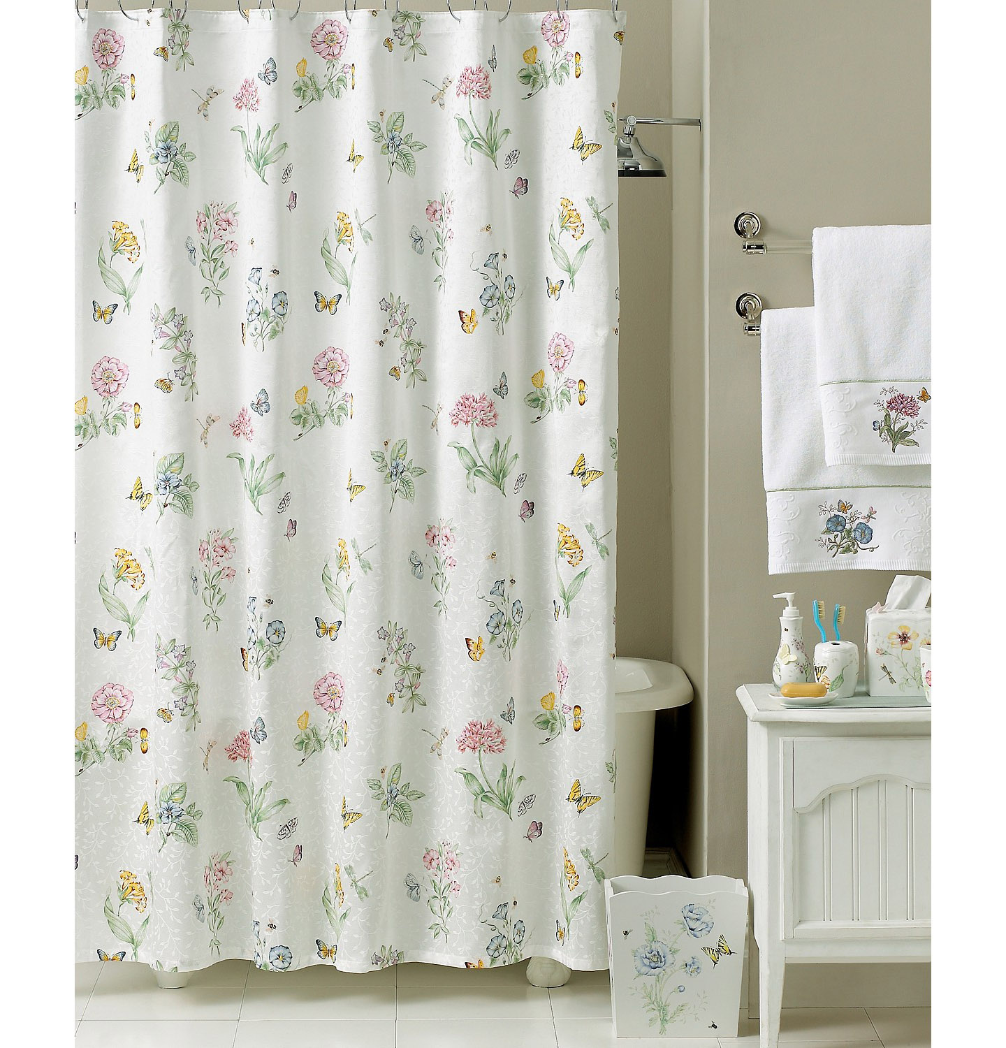 Lenox Butterfly Meadow Shower Curtain And Bath Accessories