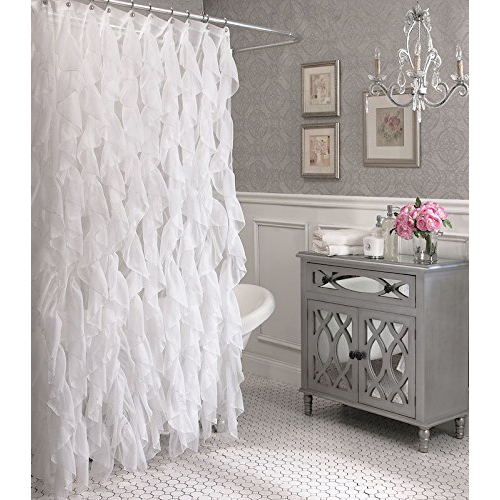 Cascade Vertical Ruffled Shower Curtain By Lorraine