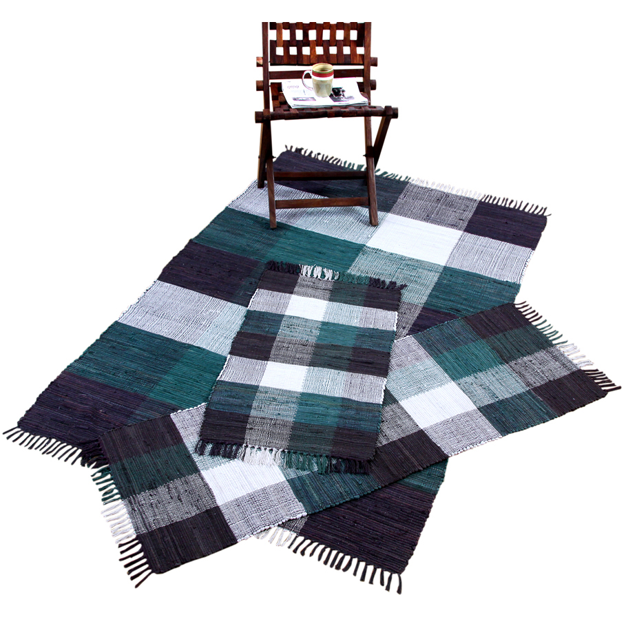 Check Chindi Cotton Teal & Black 3-Piece Accent Rug Set