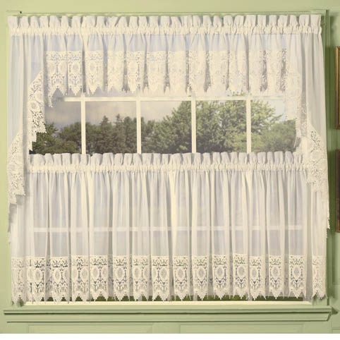 Ivory Diana Lace Trim Kitchen Tier Curtain