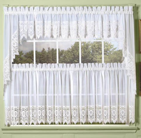 White Diana Macrame Lace Tailored Curtain Altmeyer S