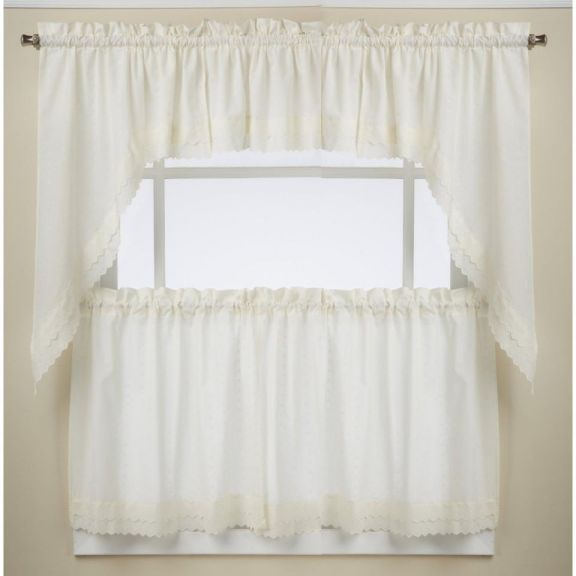 Ribbon Eyelet Ivory Kitchen Curtains