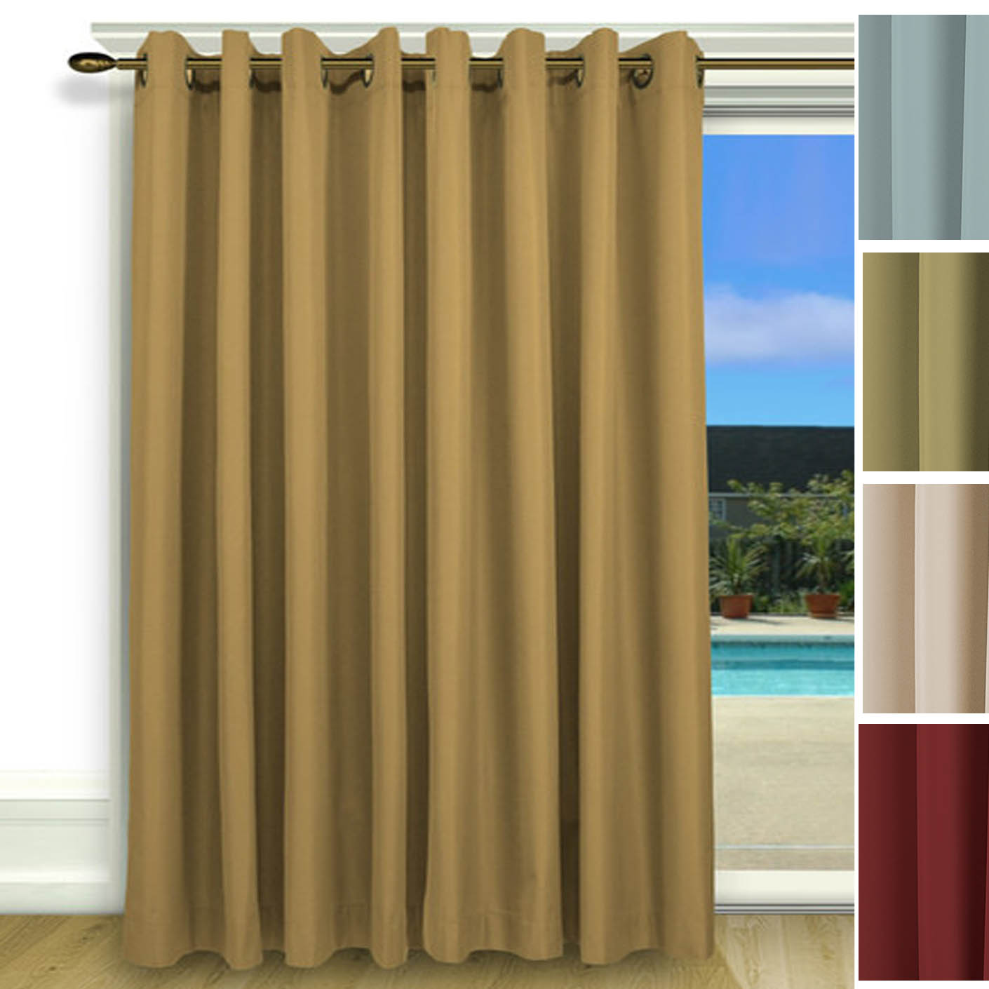 Elegance Insulated Thermal Grommet Curtain Patio Panel
