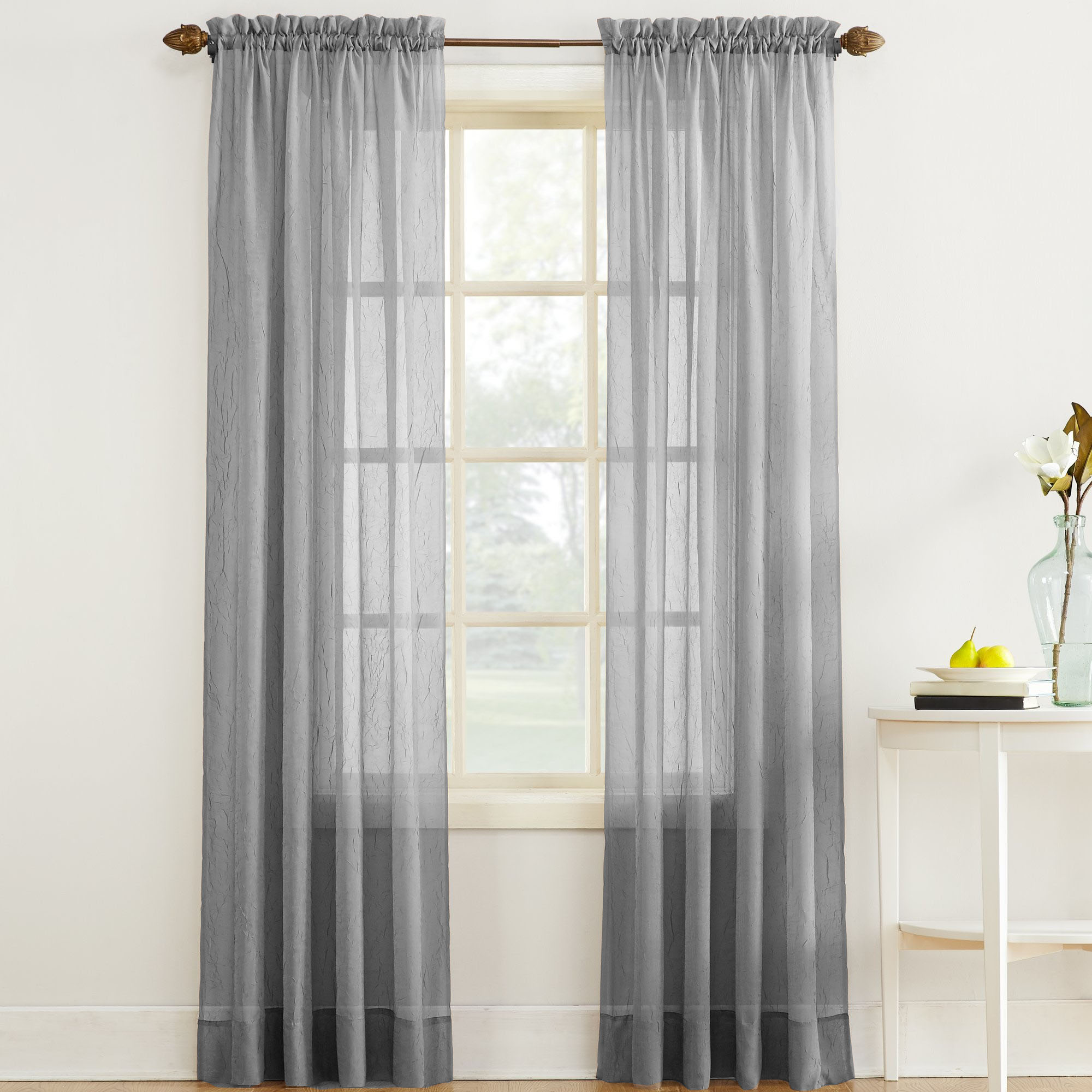Erica Crushed Sheer Voile Curtain Panel In Gray Altmeyer