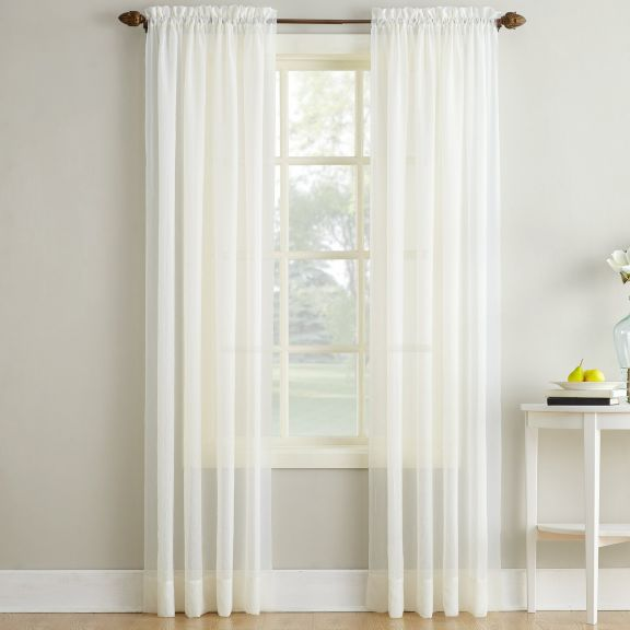 Erica Crushed Sheer Voile Curtain Panel In Ivory