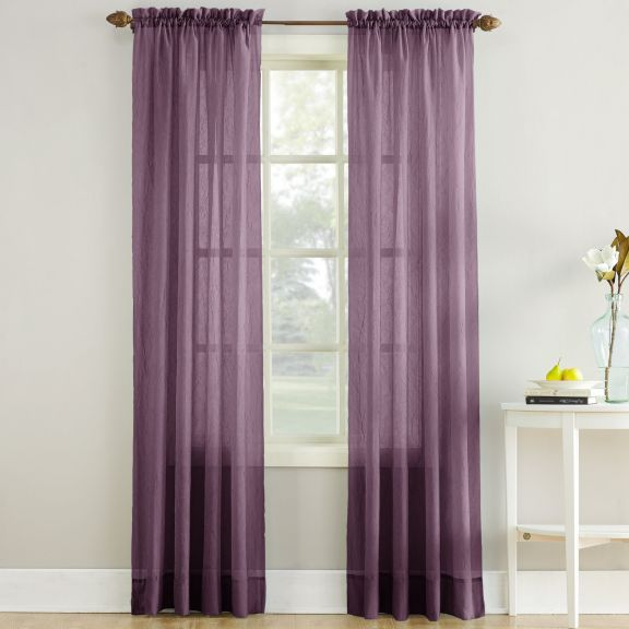 Erica Crushed Sheer Voile Curtain Panel In Purple