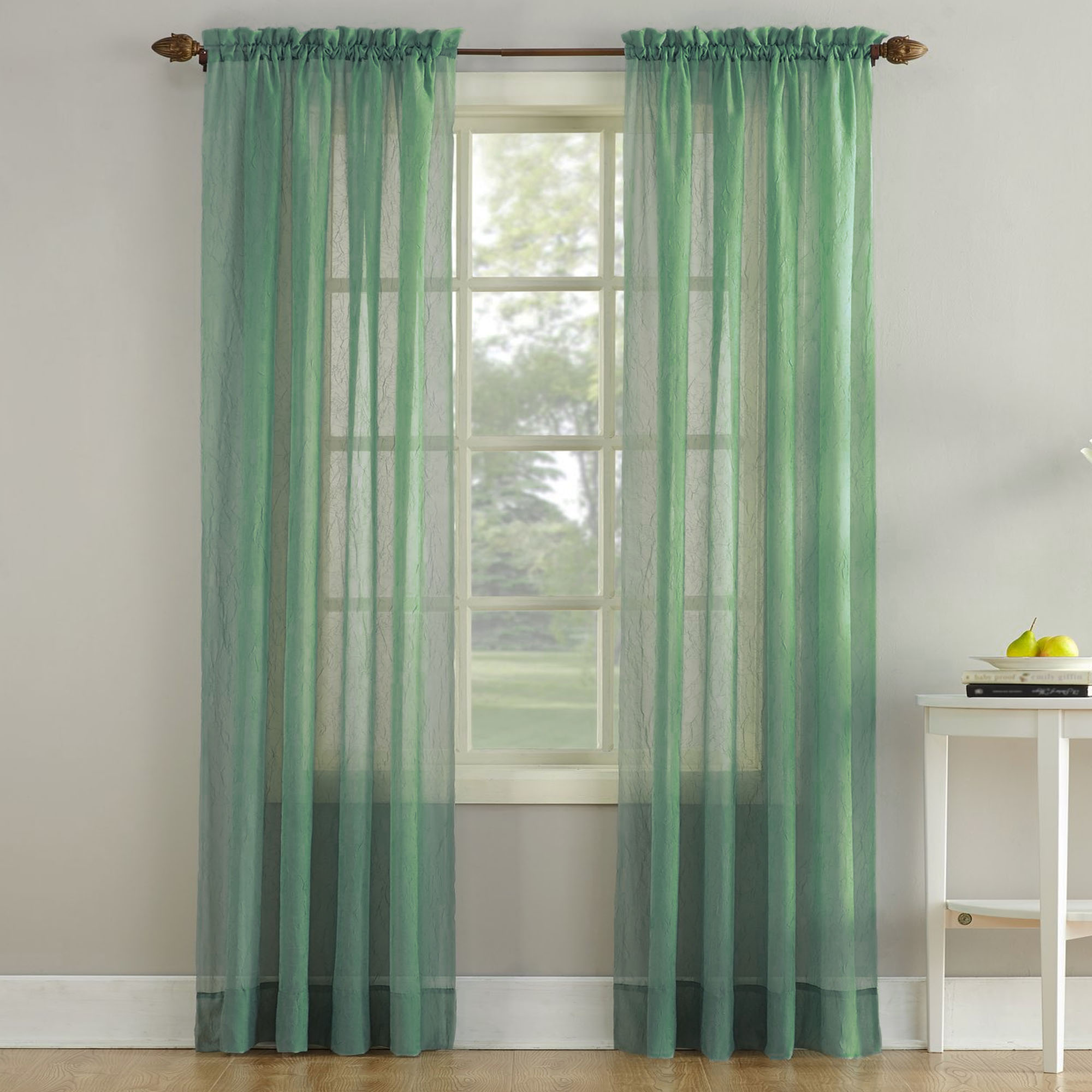Erica Crushed Sheer Voile Curtain Panel In Sage Altmeyer
