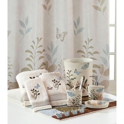 Fluttering Butterfly Shower Curtain And Bath Accessories