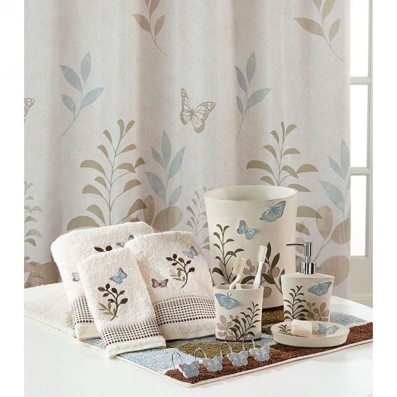 25cf4f06f5ca Fluttering Butterfly Shower Curtain and Bath Accessories