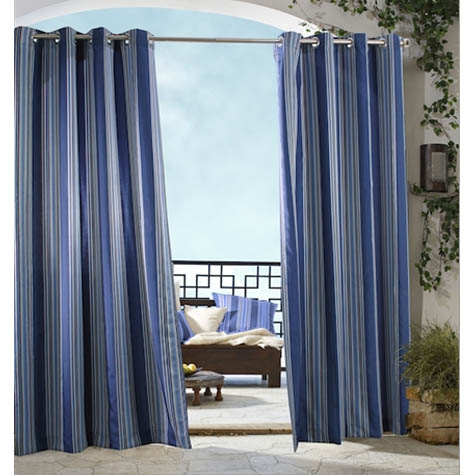 Blue Gazebo Stripe Grommet Top Indoor Outdoor Curtain Panel