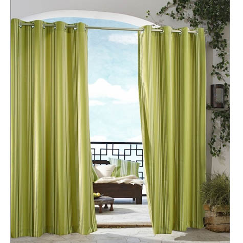 Green Gazebo Stripe Grommet Top Indoor Outdoor Curtain Panel