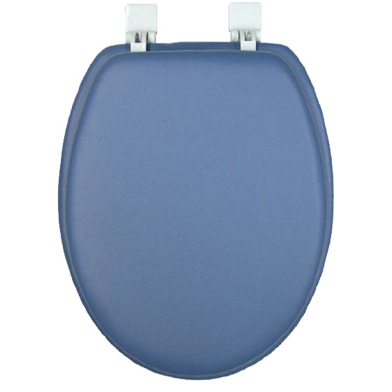 Ginsey Solid Smoke Blue Elongated Padded Soft Toilet Seat