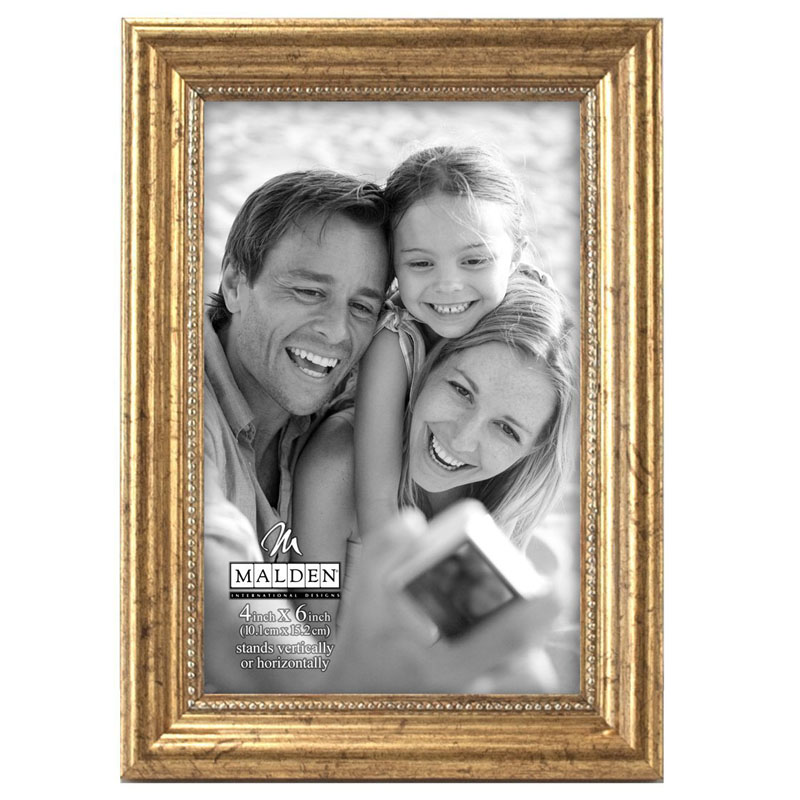 Malden International Designs Classic Wood Gold Bead Picture Frame