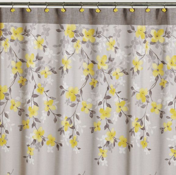 Spring Garden Floral Gray And Yellow Fabric Shower Curtain
