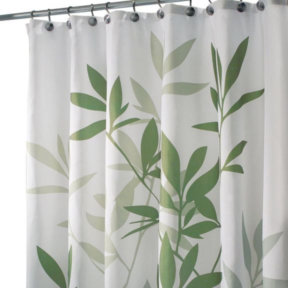 Green Leaves Stall Size Fabric Shower Curtain BedBathHomeCom