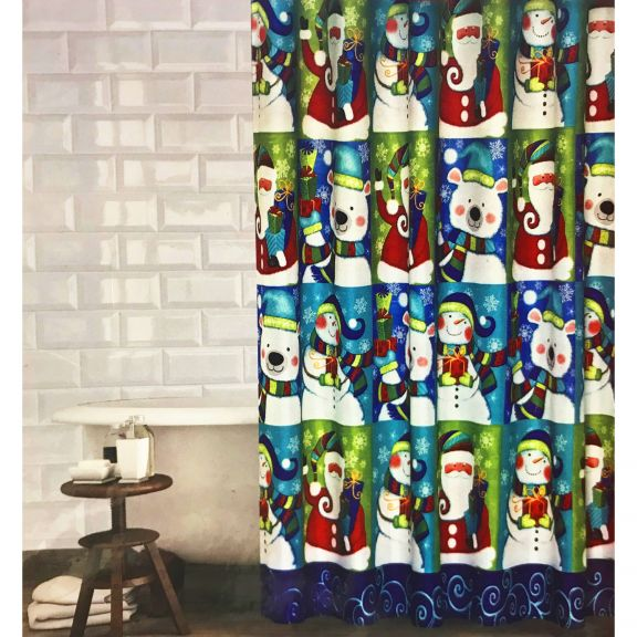 Winter Holiday Icons Fabric Shower Curtain Set With Hooks