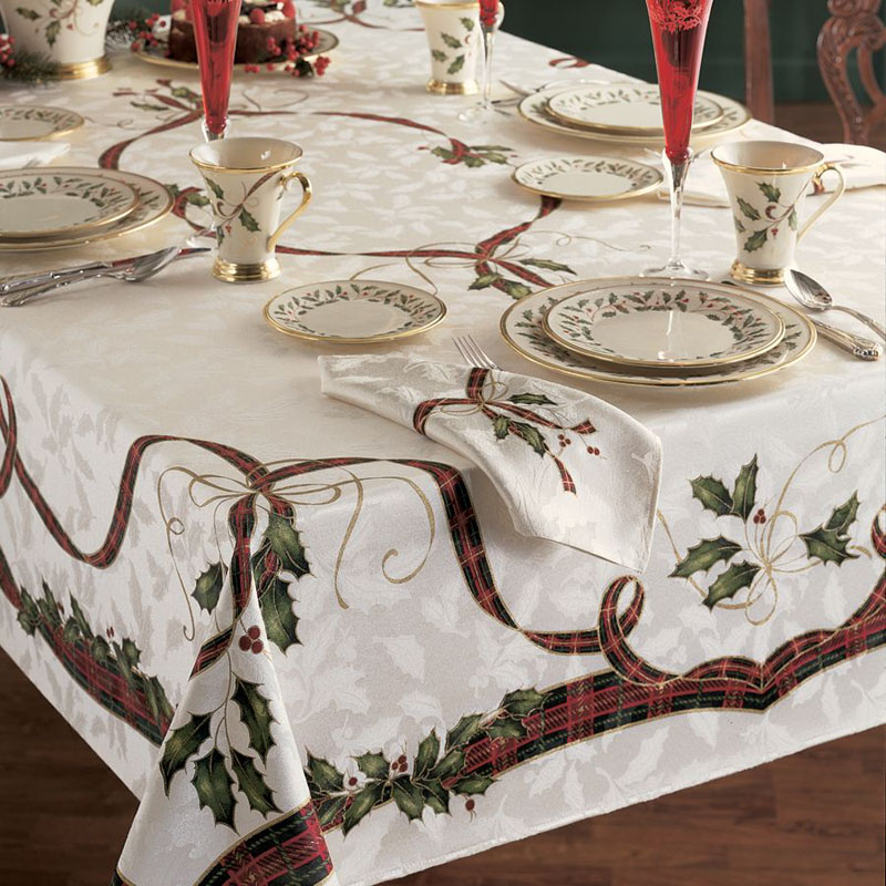Holiday Nouveau Fabric Tablecloth By Lenox