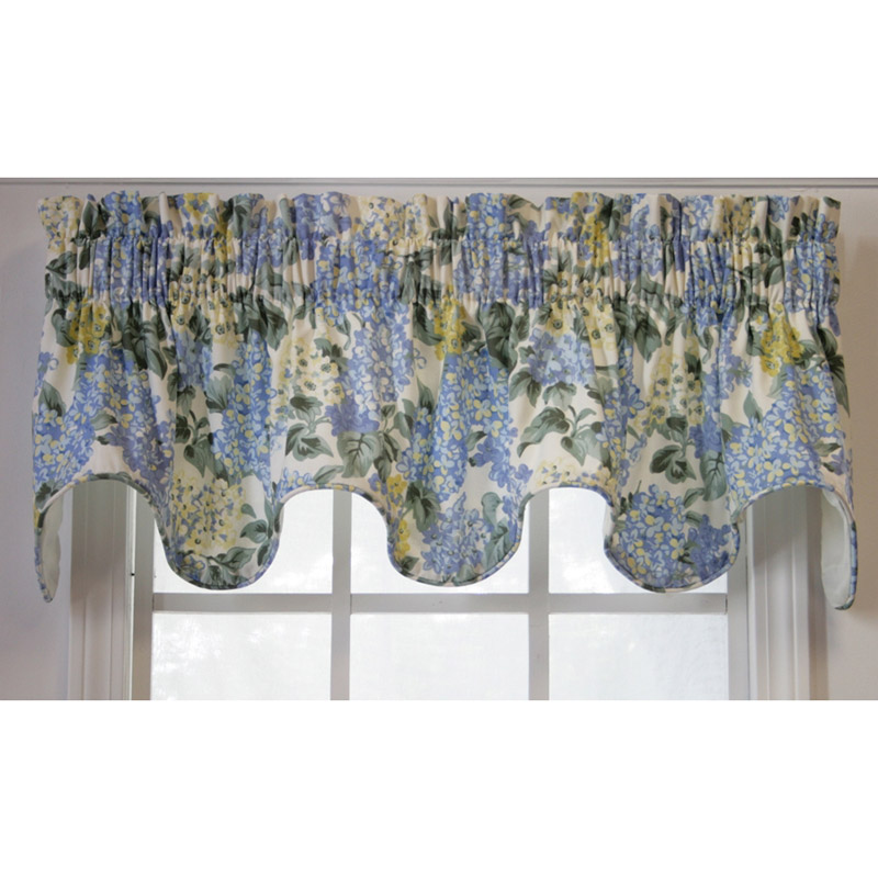 Blue Hydrangea Scallop Window Valance
