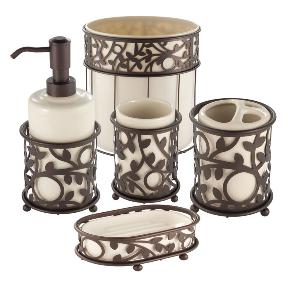 Interdesign Vine Vanilla And Bronze Bath Accessories