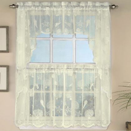 ivory lace nautical reef tier curtain - Tier Curtains