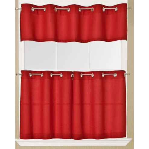 Jackson Solid Red Grommet Top Tier Curtain And Valance