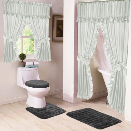 Double Swag Shower Curtains Double Swags With Liner