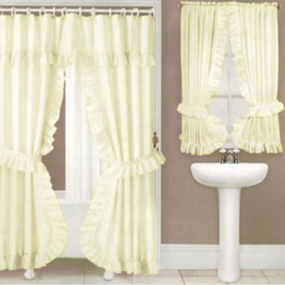 Ivory Lauren Double Swag Shower Curtain W Available Window