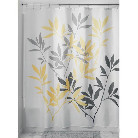 InterDesign Leaves Yellow And Grey Fabric Shower Curtain