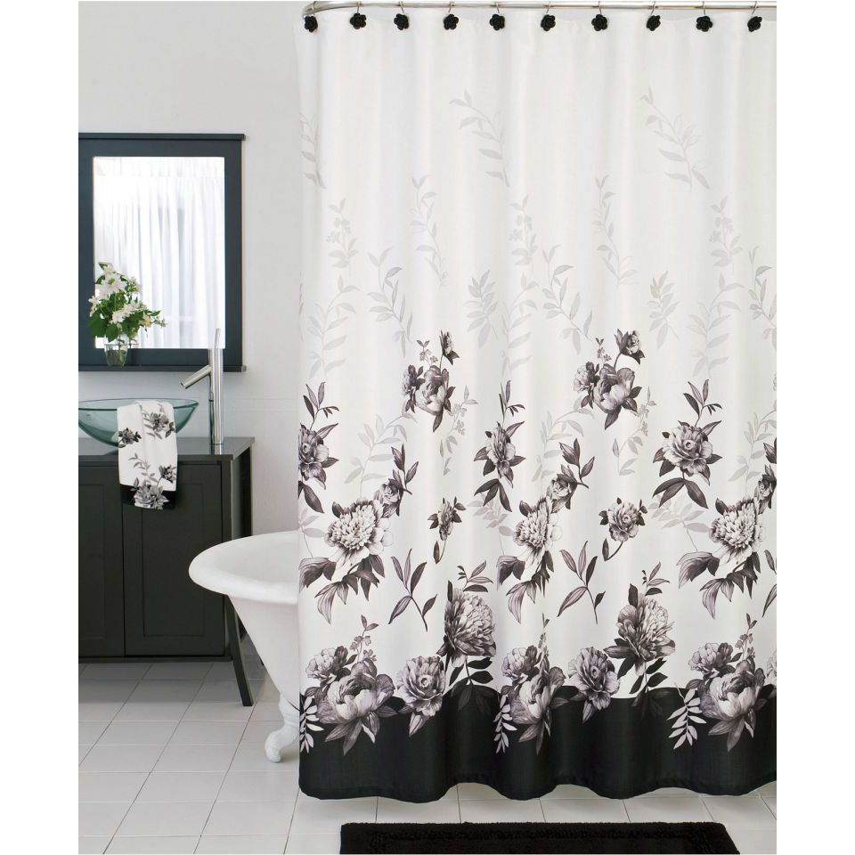 subtle handcrafted black and curtain shower white ticking curtains striped