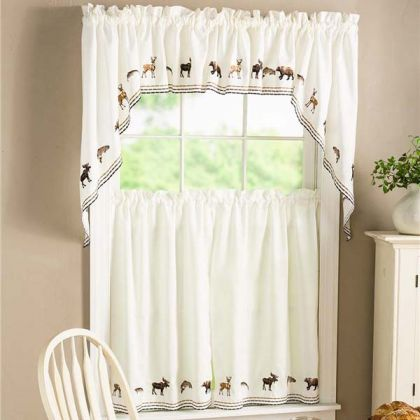 Lodge Embroidered Wildlife Kitchen Curtain