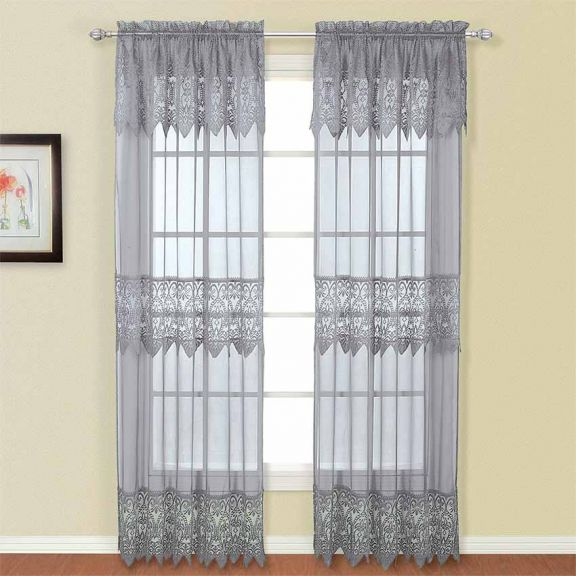 Gray Macrame Sheer Curtain Panel With
