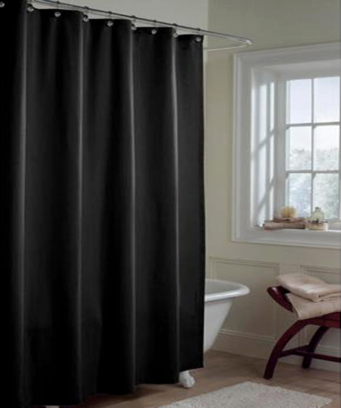 Solid BLACK Microfiber Shower Curtain Or Liner