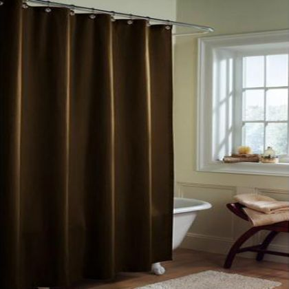 solid chocolate microfiber shower curtain or liner