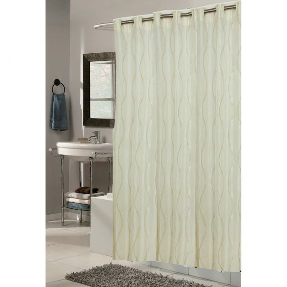 Ez On Grommet Bristol Ivory Fabric Shower Curtain