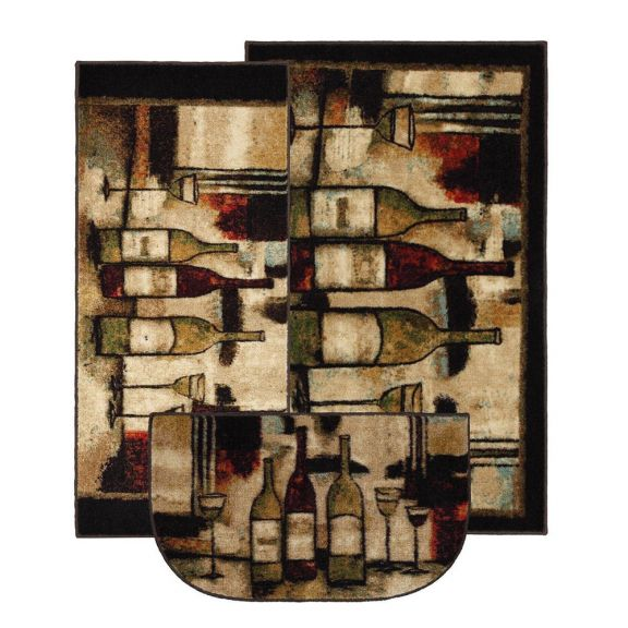 Mohawk Wine and Glasses 3 Piece Kitchen Rug Set