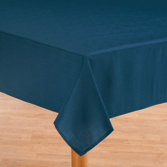 Oxford Solid Navy Blue Fabric Tablecloth