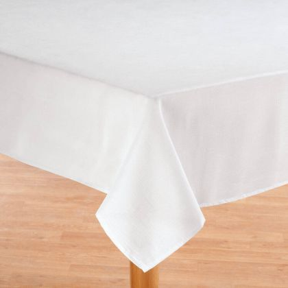 Oxford Solid White Fabric Tablecloth
