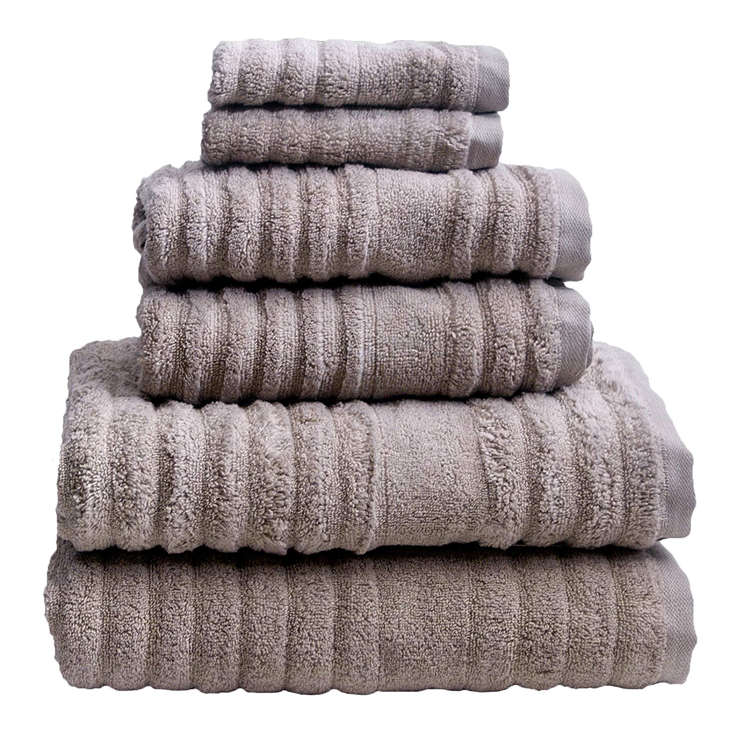 100/%Cotton 13 x 30 Set of 2 Luxury Fade Resistant Hand Towels Taupe//Brown