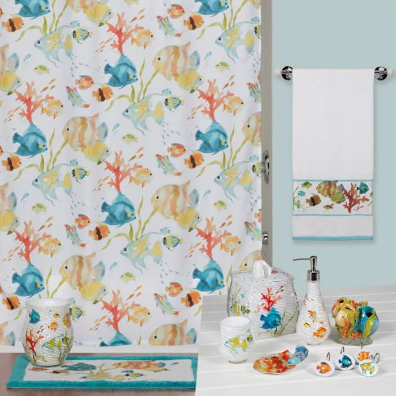 Rainbow Fish Shower Curtain And Matching Bath Accessories