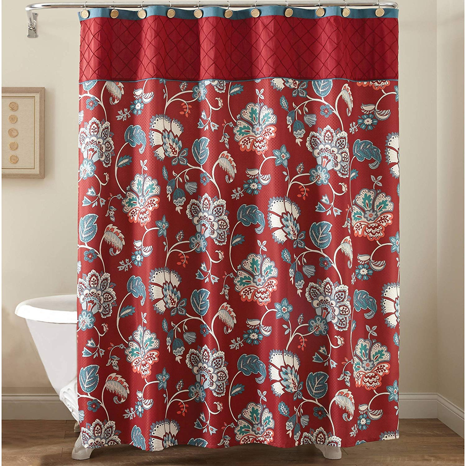 Saturday Knight Red Jacobean Fabric Shower Curtain