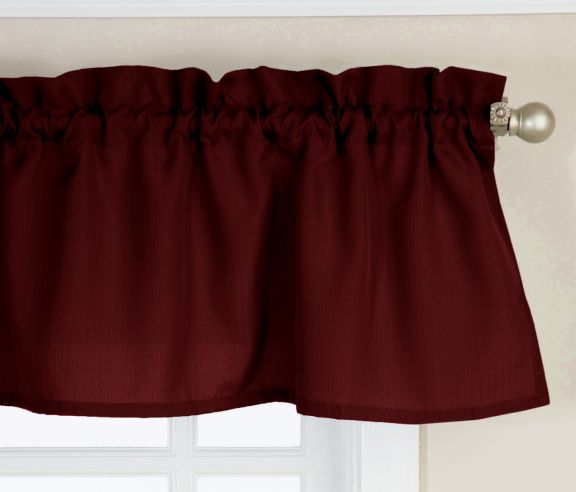 Ribcord Wine Burgundy Solid Tailored Valance