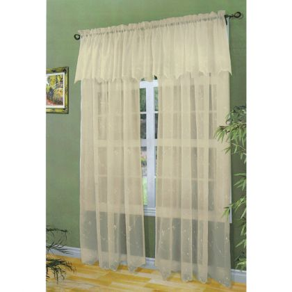 Roslyn Sand Embroidered Voile Curtain