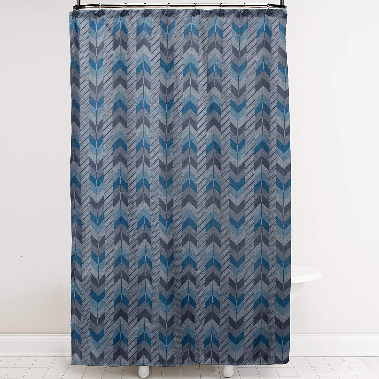 Saturday Knight Blue Feathers Fabric Shower Curtain