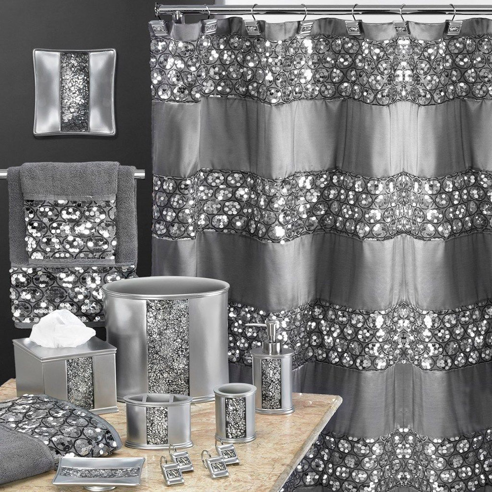 Sinatra Silver Bling Shower Curtain and Bath Accessories ...