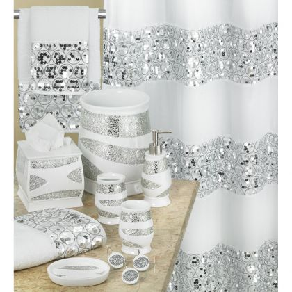 Shower curtains matching bath accessories bath decor for Bathroom accessories with bling