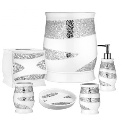 Sinatra silver bling shower curtain and bath accessories for White toilet accessories