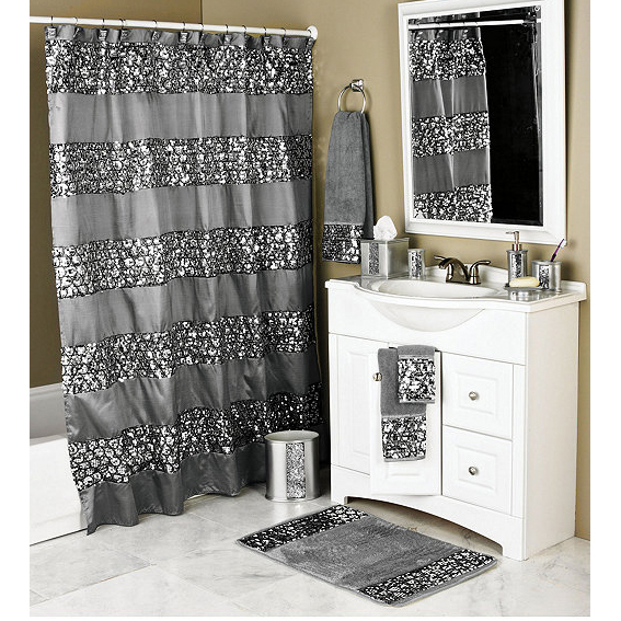 Sinatra silver bling shower curtain and bath accessories for Black bling bathroom accessories