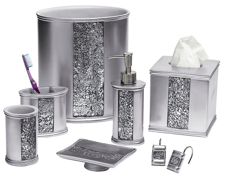 Silver bathroom accessories sets wenko silver bathroom for Black bling bathroom accessories